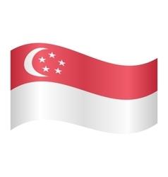 Flag of Singapore waving on white background vector image