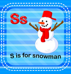 Flashcard letter s is for snowman vector