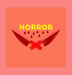 Flat shading style icon knives horror vector