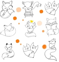 Fox characters cute lovely vector
