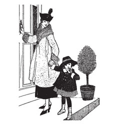 girl and mother vintage vector image vector image