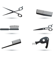 Hair accessories icons and elements vector