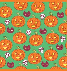 halloween pattern woth skulls pumpkins and black vector image