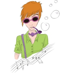 Hand drawn of boy in sun glasses vector