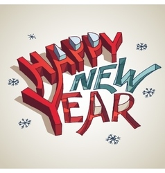 Happy new year 3d typography vector