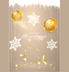 happy new year and christmas christmas card with vector image vector image