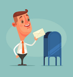 Man office worker character got envelope message vector