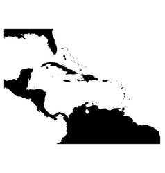Map of caribbean region and central america black vector