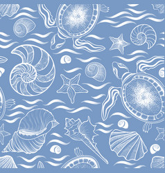 marine lie seamless pattern seashell turtle vector image