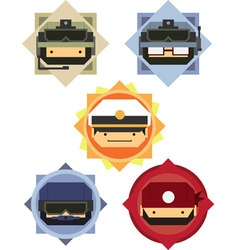 Military soldier officer cartoon icons vector