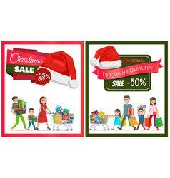 Pair of christmas sale cards vector