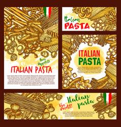pasta sketch posters for italian restaurant vector image vector image