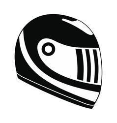 Racing helmet black simple icon vector image vector image