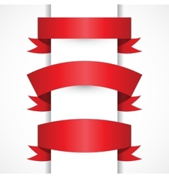 Set of Realistic Red ribbons for your vector image vector image