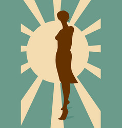 Sexy woman silhouette in short dress vector