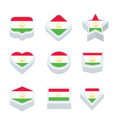 tajikistan flags icons and button set nine styles vector image vector image
