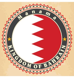 Vintage label cards of bahrain flag vector