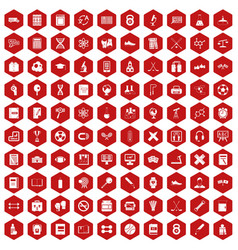 100 college icons hexagon red vector
