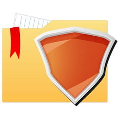 File folder protected by orange shield vector