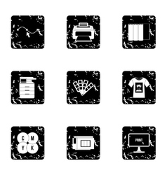 Printing icons set grunge style vector