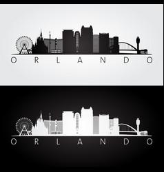 Orlando usa skyline and landmarks silhouette vector
