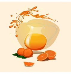 Decanter of orange juice background splash vector
