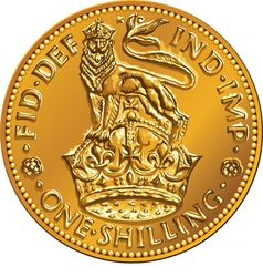 British money gold coin one shilling vector
