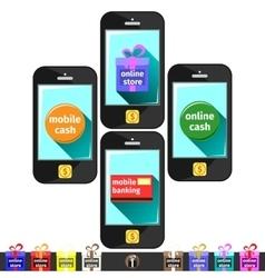 Online store cash banking vector image