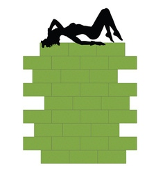 Girl on green wall vector