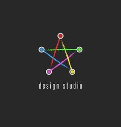 Star logo colorful mockup colored line creative vector image