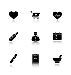 Medical drop shadow black icons set vector