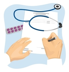 Male doctor filling in empty medical prescription vector