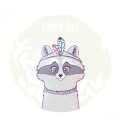 Racoon cute character vector