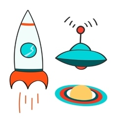 Set of space objects icons outer space rocket vector