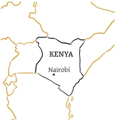 Kenya hand-drawn sketch map vector