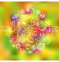 Fruit doodle set i love fruits vector