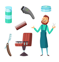 barber at work and different of vector image