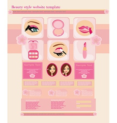 Beauty style website template - shop for makeup vector