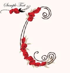 C hand drawn flower alphabet vector image