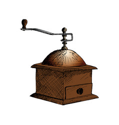 Coffee mill coffee grinder hand drawn sketch vector