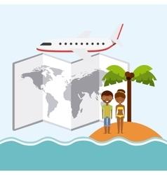 Couple cartoon island palm tree map airplane icon vector