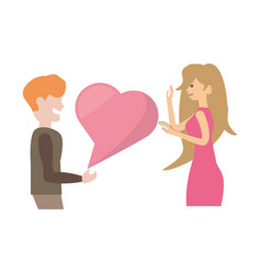 Couple romantic talking heart love image vector