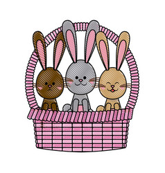 Drawing easter basket with rabbits adorable vector