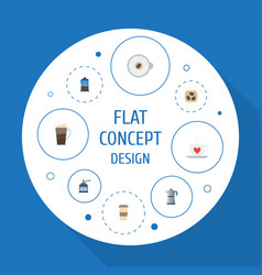 Flat icons moka pot cappuccino french press and vector