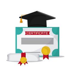 Graduation cap diploma university icon vector