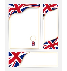Great britain flag banners set vector