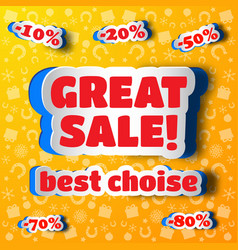 great sale design concept in paper style vector image vector image
