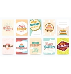 Happy birthday greeting cards set design vector