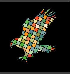 hawk eagle falcon bird mosaic color silhouette vector image