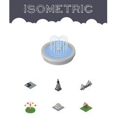 Isometric city set of sculpture park decoration vector